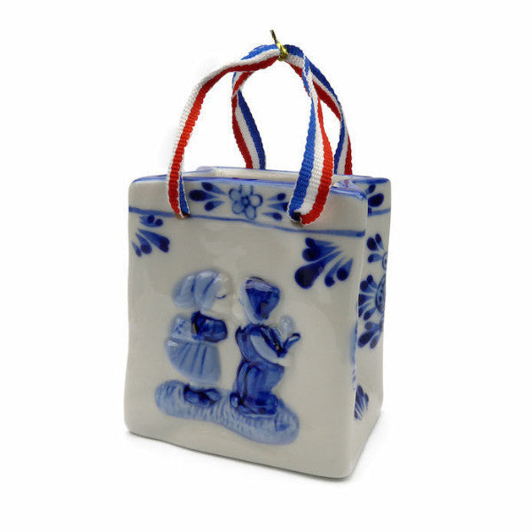 Delft Blue Basket with Embossed Kiss Design and Ribbon - ScandinavianGiftOutlet