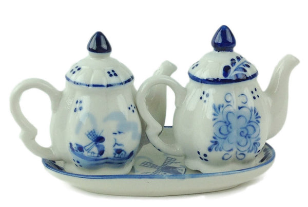 Ceramic Blue & White S&P Tea Pot Set - ScandinavianGiftOutlet