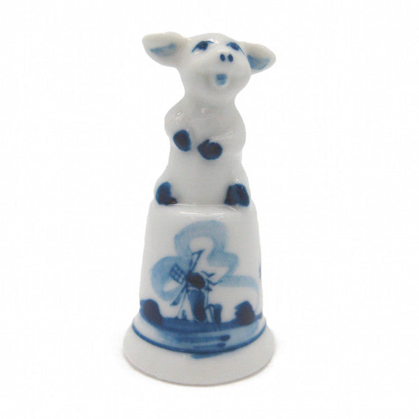 Collectible Thimble Blue and White Piggy - ScandinavianGiftOutlet