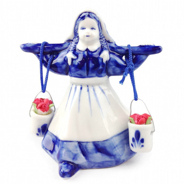 Blue and White Milkmaid With Colored Tulips - ScandinavianGiftOutlet