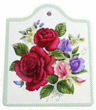 Ceramic Cheeseboard w/ Cork Backing: Roses - ScandinavianGiftOutlet