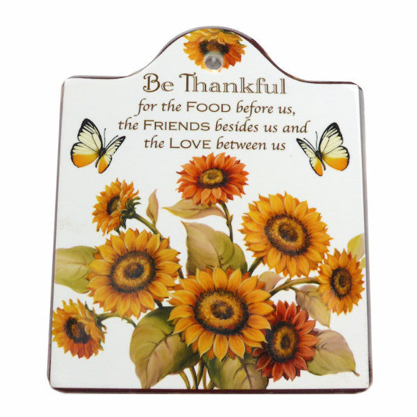 Ceramic Cheeseboard w/ Cork Backing: Thankful - ScandinavianGiftOutlet