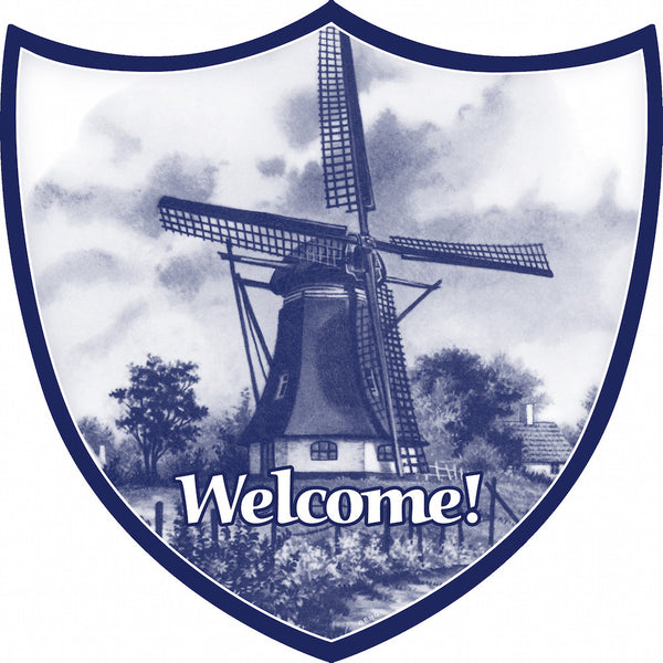 Ceramic Decoration Shield: Windmill - ScandinavianGiftOutlet