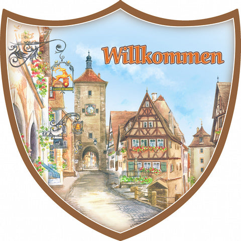 Ceramic Decoration Shield: Willkommen - ScandinavianGiftOutlet