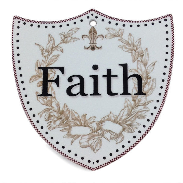 Ceramic Decoration Shield: Faith - ScandinavianGiftOutlet