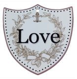 Ceramic Decoration Shield: Love - ScandinavianGiftOutlet  - 1
