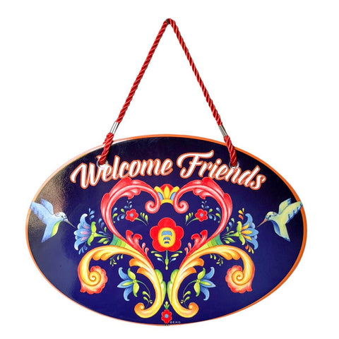 Ceramic Door Signs: Welcome Friends Rosemaling Blue - ScandinavianGiftOutlet