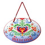 Ceramic Door Signs: Welcome Rosemaling & Lovebirds - ScandinavianGiftOutlet