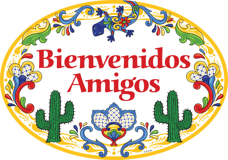 "Ceramic Latino Gift Idea Welcome Sign  ""Bienvenidos Amigos"" Yellow Cactus - ScandinavianGiftOutlet"