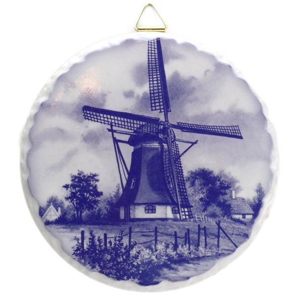 Round Ceramic Plaque: Windmill - ScandinavianGiftOutlet