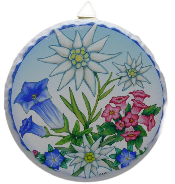 Round Ceramic Plaque: Edelweiss - ScandinavianGiftOutlet