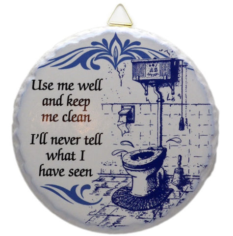 Round Ceramic Plaque: Bathroom - ScandinavianGiftOutlet