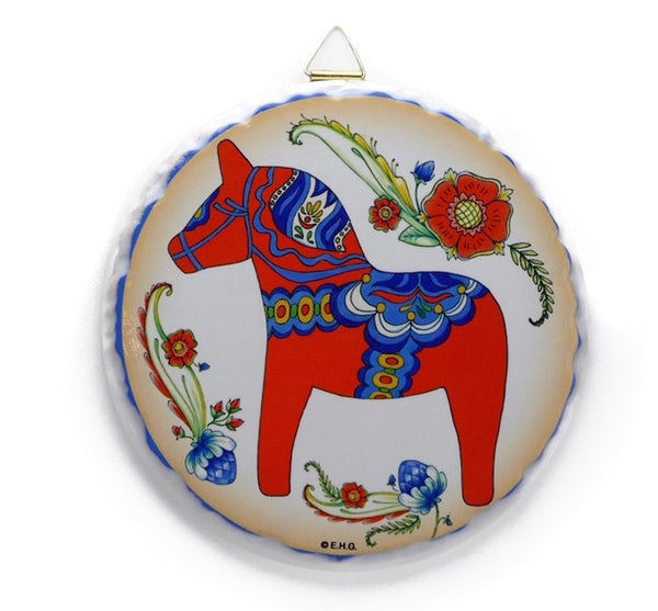 Round Ceramic Plaque: Red Dala Horse - ScandinavianGiftOutlet