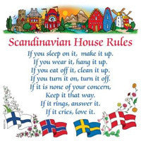Swedish Gift Wall Tile: Scandinavian House Rules - ScandinavianGiftOutlet