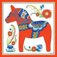 Wall Tile Design Red Swedish Dala Horse - ScandinavianGiftOutlet