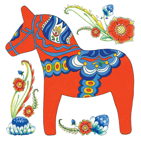 Ceramic Deluxe Plaque: Red Dala Horse - ScandinavianGiftOutlet