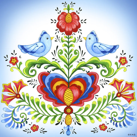 Ceramic Deluxe Plaque: Lovebirds - ScandinavianGiftOutlet