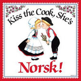 Kitchen Wall Plaques: Kiss Norsk Cook - ScandinavianGiftOutlet
