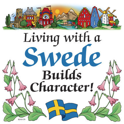 Kitchen Wall Plaques: Living With A Swede - ScandinavianGiftOutlet  - 1