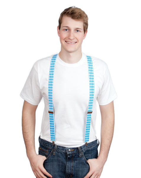 Oktoberfest Costume Suspenders: Checkered - ScandinavianGiftOutlet