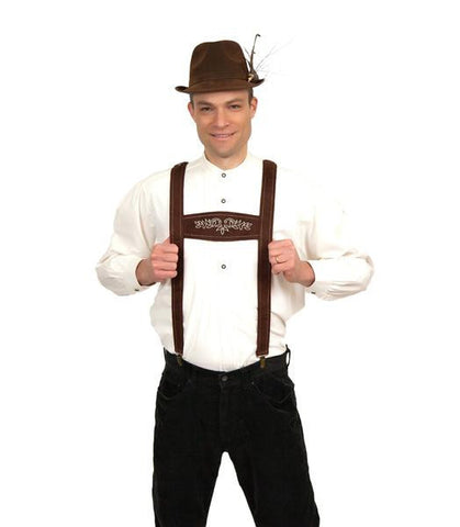 Lederhosen Suspenders Faux Leather German Costume - ScandinavianGiftOutlet