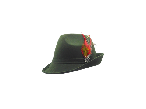 """German Hunter"" Green Hat Fedora And Edelweiss & Feather - Scandinaviangiftoutlet.com"