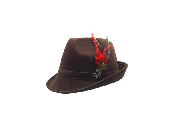 "Brown ""German Hunter"" Hat Fedora And Edelweiss & Feather - ScandinavianGiftOutlet"