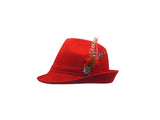 "Red ""German Hunter"" Hat Fedora And Edelweiss & Feather - ScandinavianGiftOutlet"