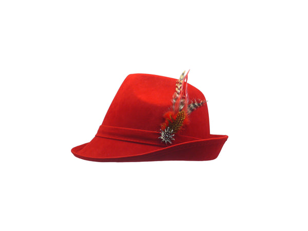 """German Hunter"" Red Hat Fedora And Edelweiss & Feather - Scandinaviangiftoutlet.com"