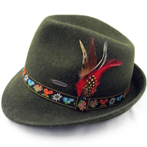 German Alpine Green 100% Genuine Wool Hat - ScandinavianGiftOutlet