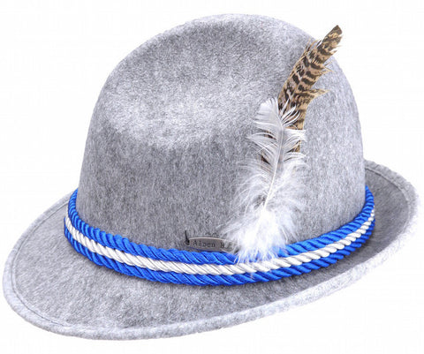 German Alpine Hat Gray With Rope - ScandinavianGiftOutlet