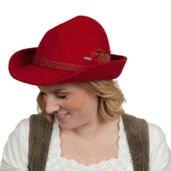 German Bavarian Style Red 100% Wool Hat - ScandinavianGiftOutlet