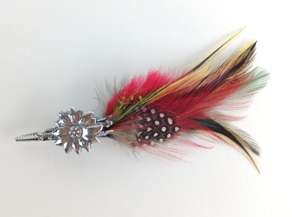 Edelweiss German Hat Pin w/ Colorful Feather - ScandinavianGiftOutlet