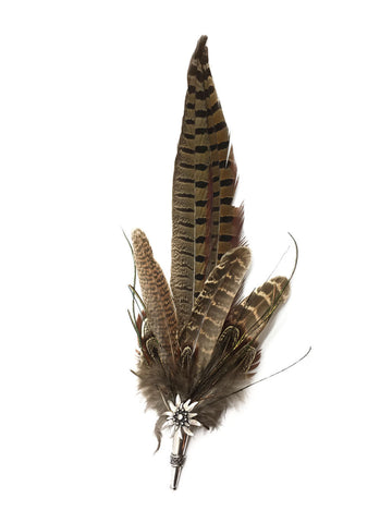 Oktoberfest Hat Brown Feather Edelweiss Hat Pin - Scandinaviangiftoutlet.com