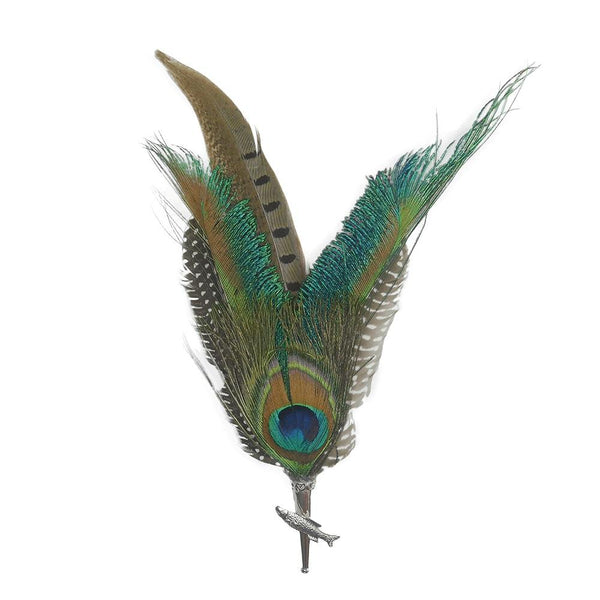 Peacock & Pheasant Fedora Feather Pin with Fish Medallion - ScandinavianGiftOutlet