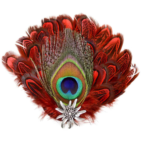 Deluxe Fedora Feather Pin with Peacock & Red Feathers - ScandinavianGiftOutlet