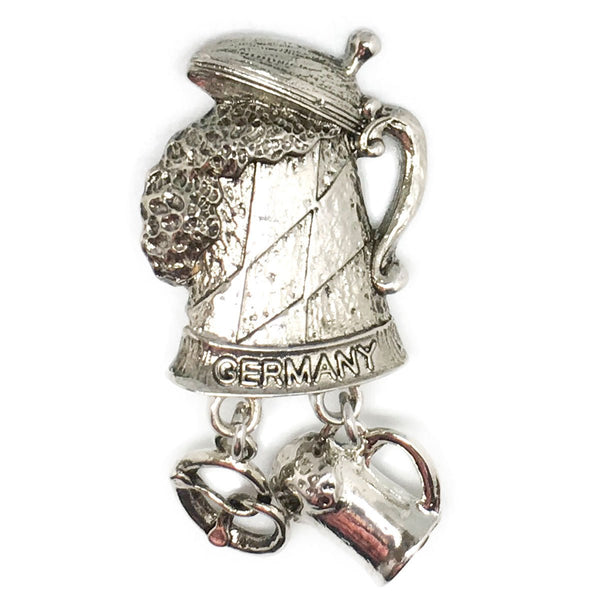 """Germany"" Metal Hat Pin with German Beer Stein & Charms - ScandinavianGiftOutlet"