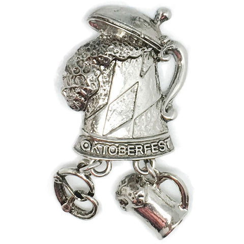 """Oktoberfest"" Metal Hat Pin with German Beer Stein & Charms - ScandinavianGiftOutlet"