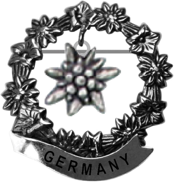 German Edelweiss Medallion Hat Pins for German Hat - ScandinavianGiftOutlet