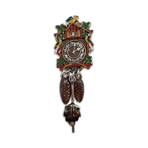 Metal Hat Pin Colored German Cuckoo Clock - ScandinavianGiftOutlet