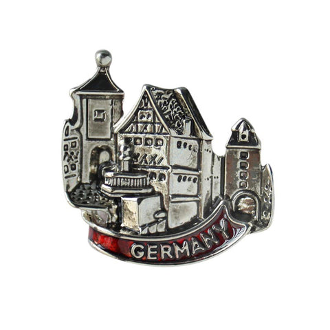 Metal Hat Pin European Village Scene Germany Banner - ScandinavianGiftOutlet