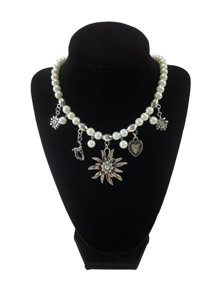 Edelweiss and Pearls Necklace German Jewelry - ScandinavianGiftOutlet