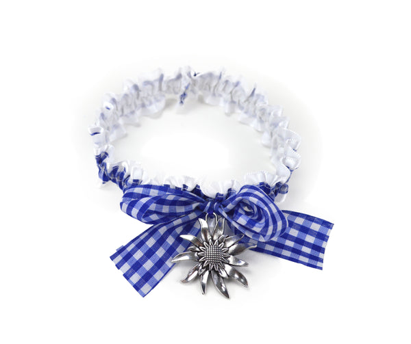 Blue/White Edelweiss Leg Garter German Costume Accessory - ScandinavianGiftOutlet