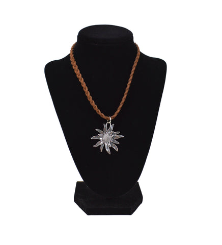 Classic Edelweiss Braided Necklace German Jewelry - ScandinavianGiftOutlet