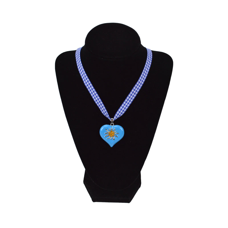 Edelweiss Blue Heart Necklace German Jewelry - ScandinavianGiftOutlet