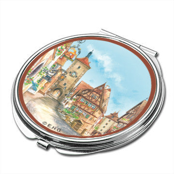Rothenburg Germany Scene Metal Compact Mirror - Scandinaviangiftoutlet.com