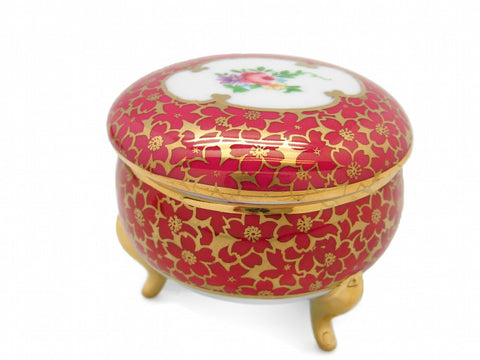 Vintage Victorian Antique Round Jewelry Box Antique Red - ScandinavianGiftOutlet