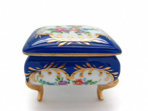 Vintage Victorian Antique Square Jewelry Box Royal Blue - ScandinavianGiftOutlet