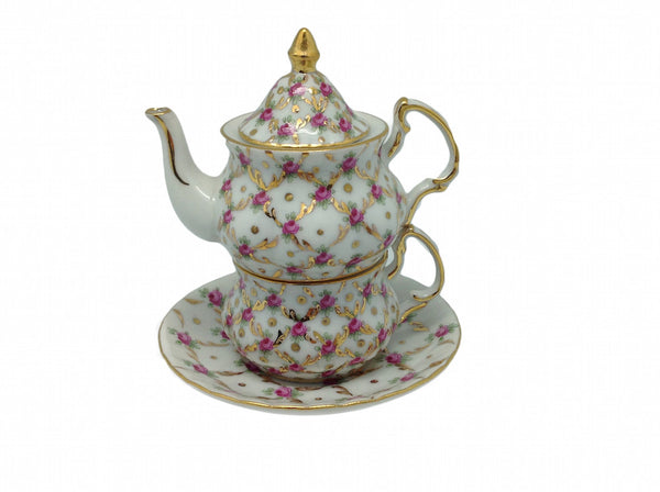 Victorian Mini Tea For One Set Desert Rose - ScandinavianGiftOutlet