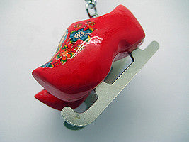Wooden Clogs Key Ring Red Clogs with Skates - ScandinavianGiftOutlet  - 1